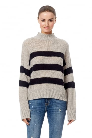 Christean Grey Striped Cashmere Jumper 33464