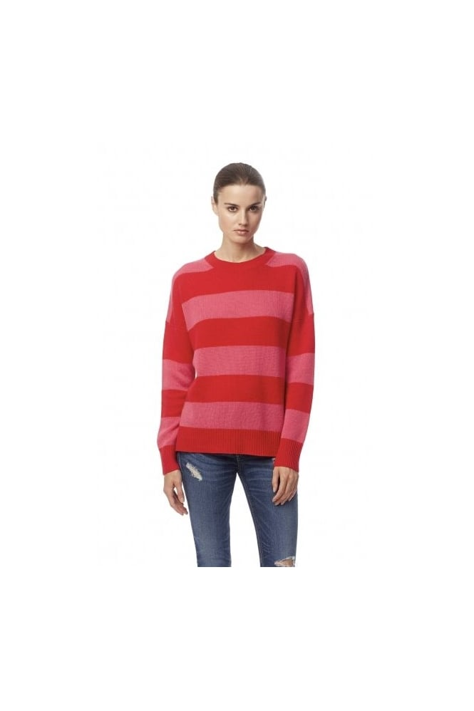 360 Cashmere Sena Striped Pink/Red Jumper 31070