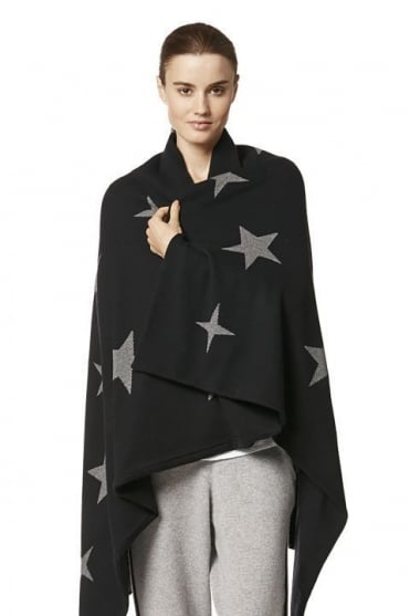 360 Cashmere Women's 27388 Reversible Star or Stripe Black Blanket