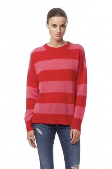 360 Cashmere Women's 31070 Sena Striped Pink And Red Jumper