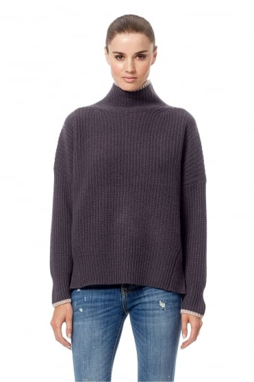 360 Cashmere Women's 33314 Sasha Grey Ribbed High Neck Jumper