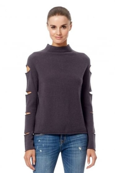 360 Cashmere Women's 33338 Amanda Grey Cut Out Jumper