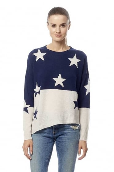 360 Cashmere Women's Abi Star Asymmetric Navy Jumper