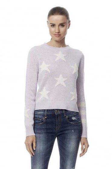 360 Cashmere Women's Embrey Star Cropped Purple Jumper