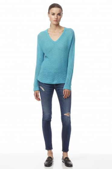 360 Cashmere Women's Xael Knit Blue Jumper