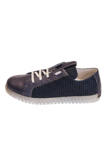 Andia Fora Men's Bet Blue Leather Trainer