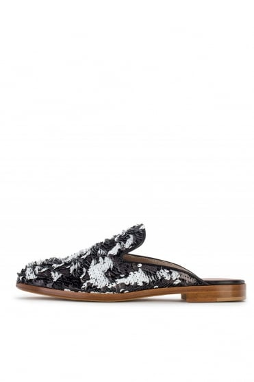 AGL Women's Sequin Softy Black Mules