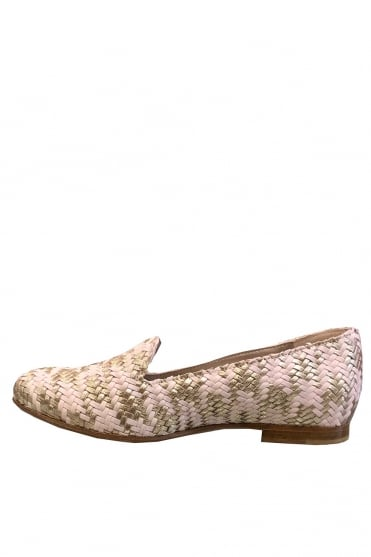AGL Women's Weaved Pink Loafer