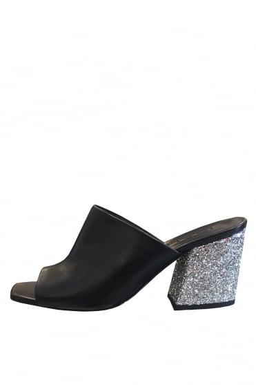 14097f2bbdb008 Baldan Women s 1106 Nappa Glitter Orange or Black Heeled Mule
