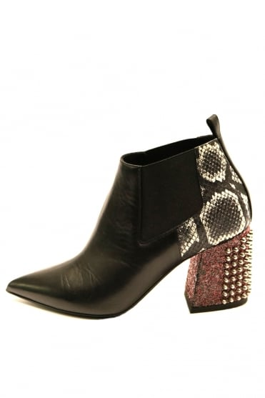 Baldan Women's 9941 Studded Heel Black Ankle Boot