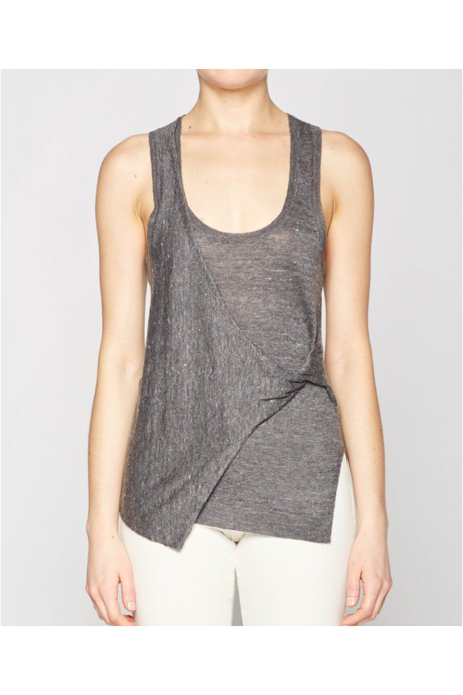 BROCHU WALKER Grey Enzo Twist Sleeveless Tank Top