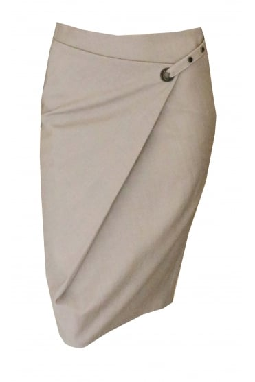 Beige Skirt With Tie Eyelet Detail