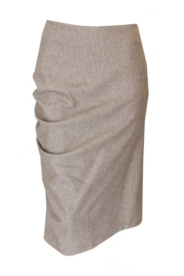 Brown Check Tweed Pencil Skirt