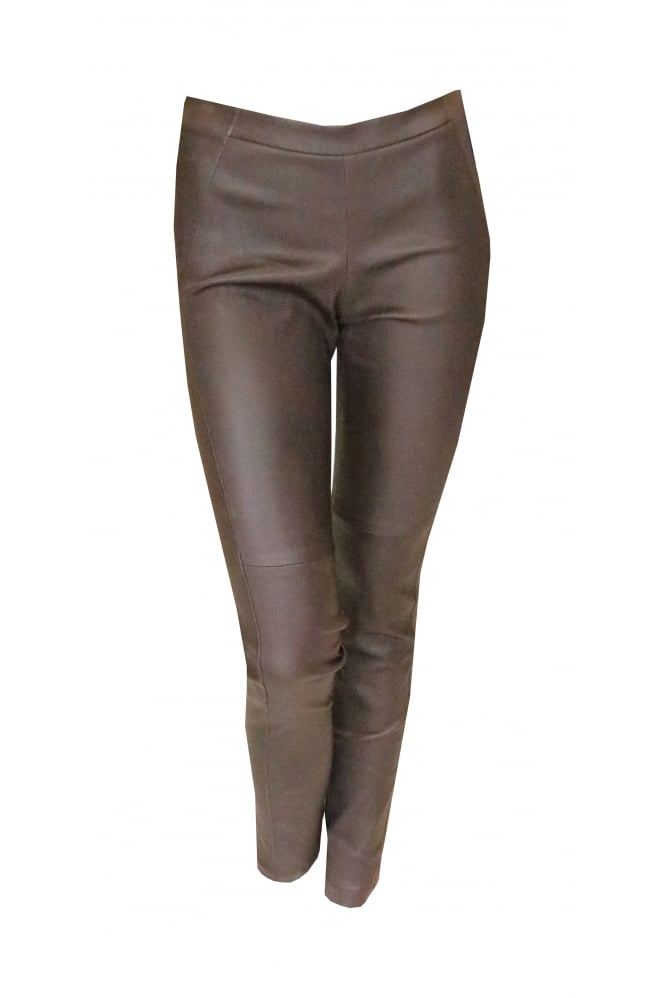 Brunello Cucinelli Brown Leather Skinny Trousers p1860