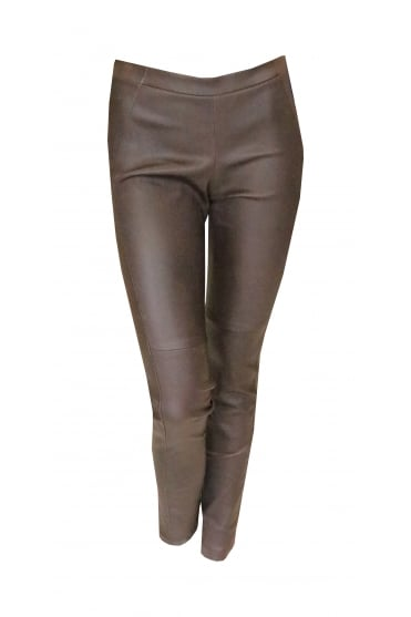 Brown Leather Skinny Trousers p1860