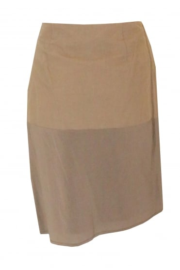 Brown Silk Panel Skirt