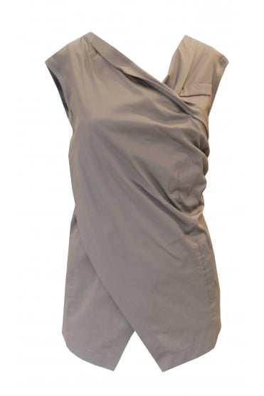 Brown Sleeveless Tie Detail Vest Top