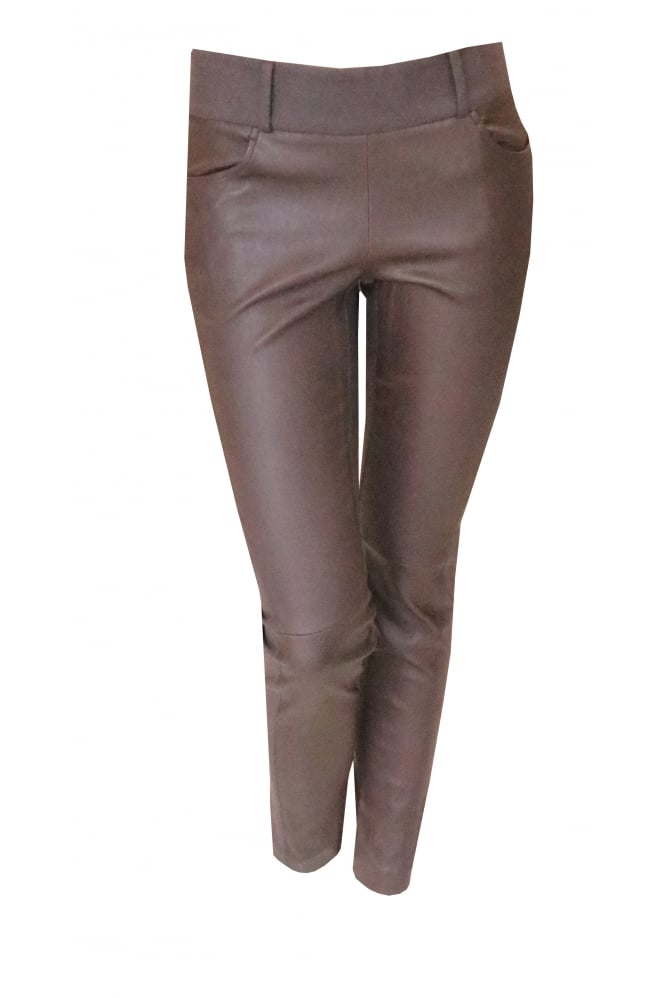 Brunello Cucinelli Burgundy Leather Panel Trousers p1870
