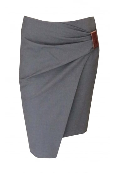 Grey Pencil Skirt With Ruche Detail