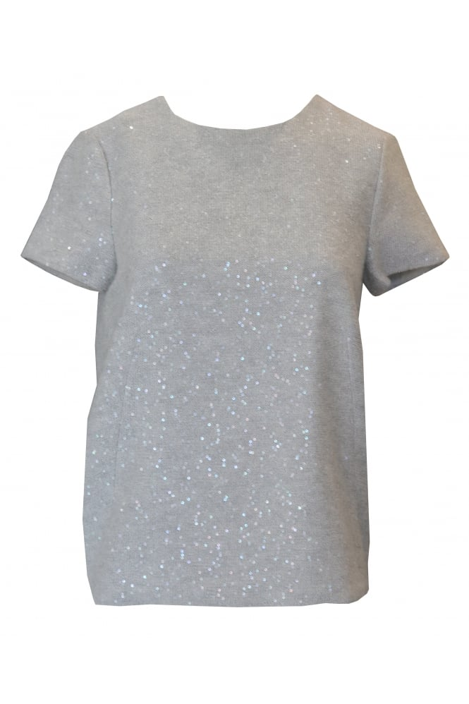 Brunello Cucinelli Grey Short Sleeved Sequin Jumper