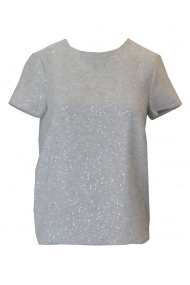 Grey Short Sleeved Sequin Jumper