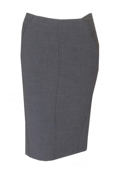 Grey Wool Pencil Skirt With Panel Detail