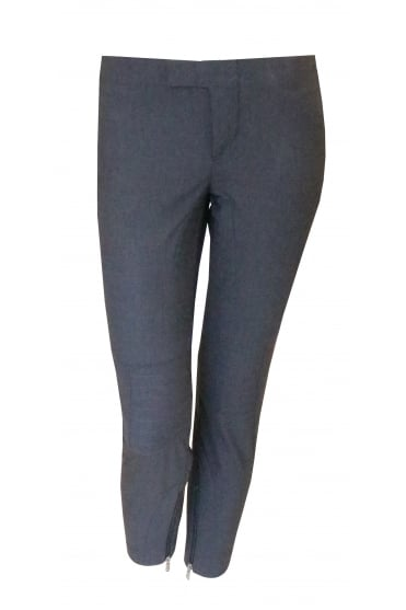 Grey Zip Detail Trousers 1458