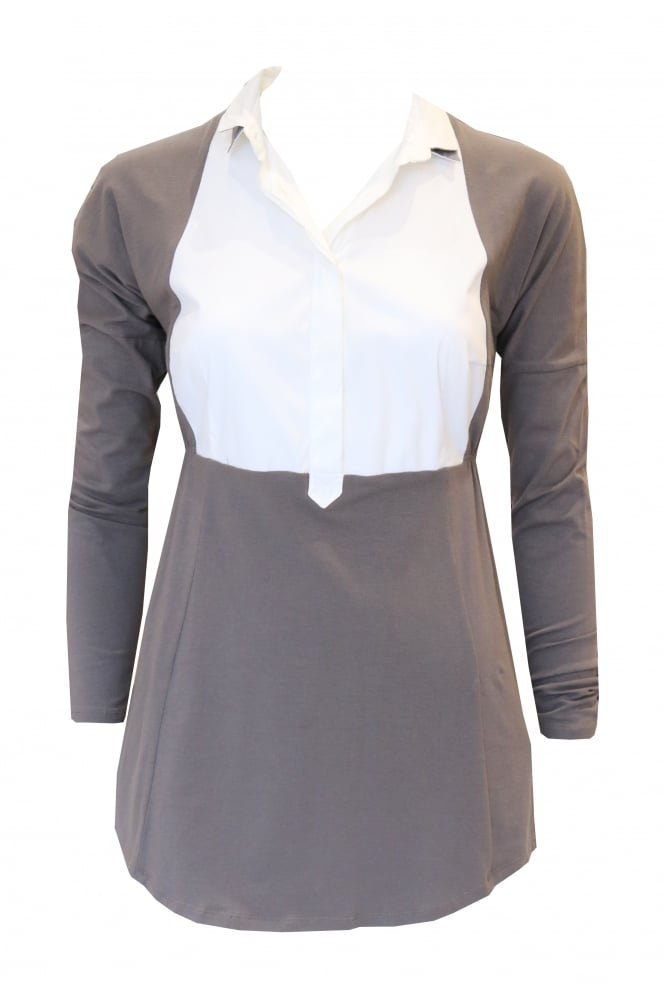 Brunello Cucinelli Long Sleeved Brown Top With White Shirt Bib