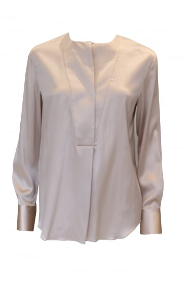 Long Sleeved Pink Satin Blouse