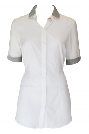 Short Sleeved White Shirt with Waist Tie