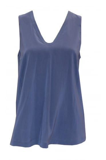 Sleeveless Blue Silk Vest Top