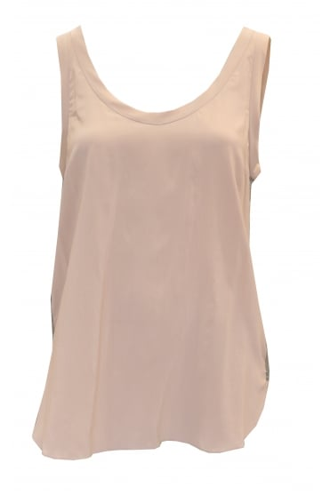 Sleeveless Pink Silk Vest Top