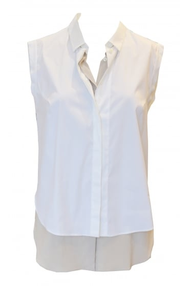 Sleeveless White Shirt with Beige Underlay