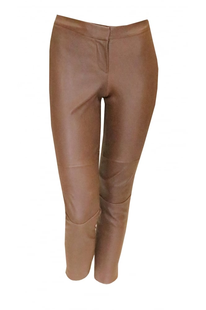 BRUNELLO CUCINELLI Women's Leather 91551 Light Brown Trousers