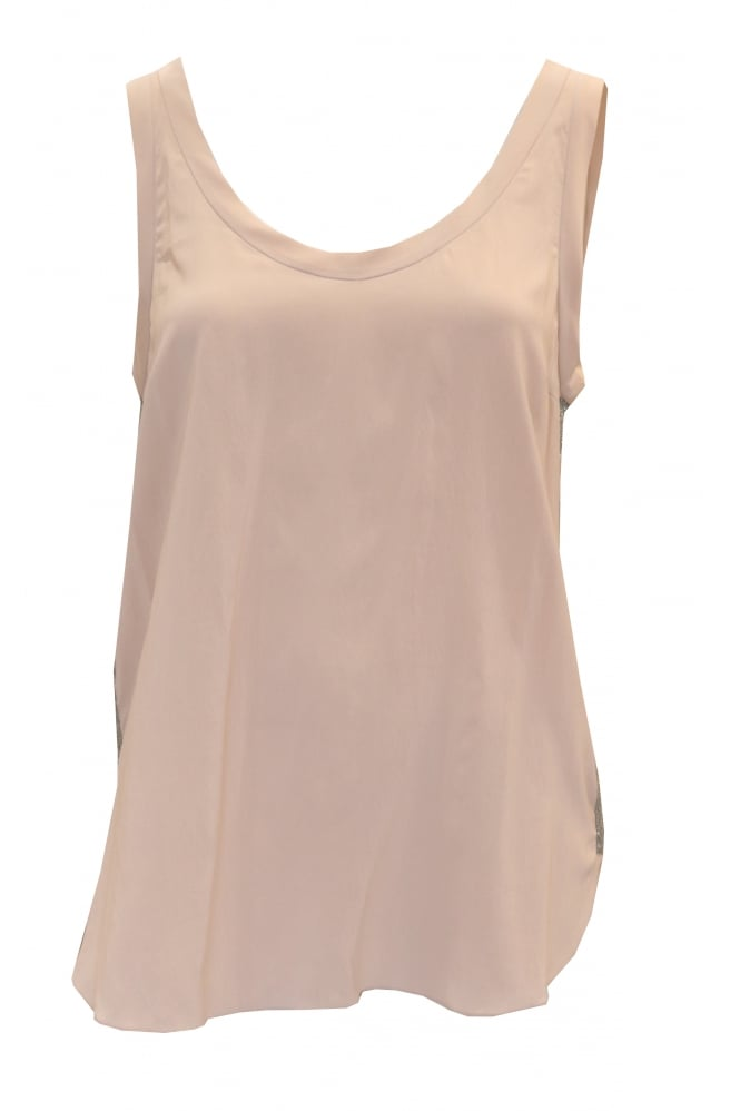 BRUNELLO CUCINELLI Women's Sleeveless Silk Pink Vest Top