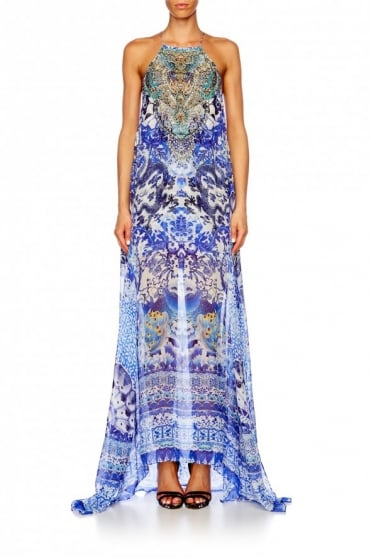 Blue Patterned Sheer Overlay Maxi Dress 1711LDSC040