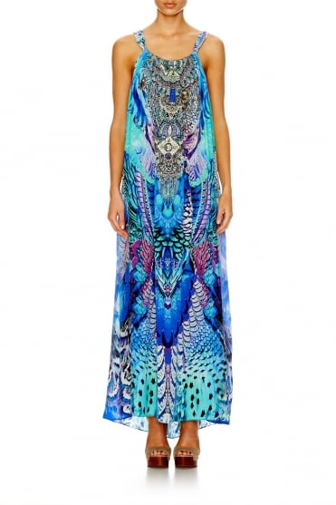 Crystals Embellished Drawstring Silk Dress 641LDSC001