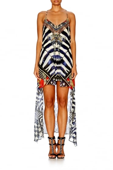 Split Front Dress W/ Long Back SDSC028