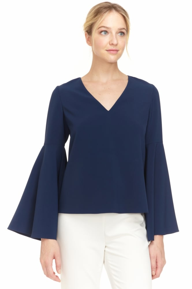 COOPER & ELLA Women's CEP1717 Marcela Bell Sleeve Navy Top