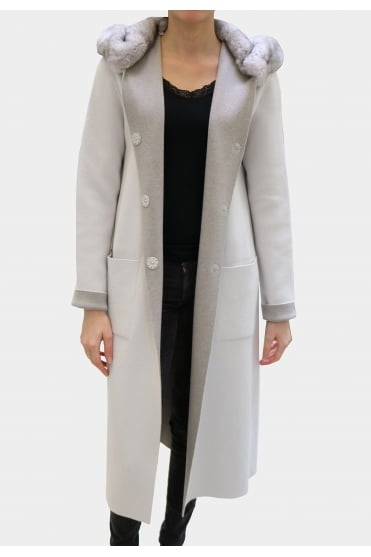 D'Exterior Women's 45065 Long Reversible Grey Coat