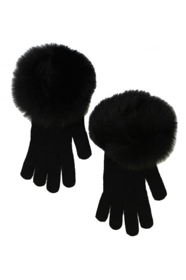 D'Exterior Women's 45987 Fur Black Gloves