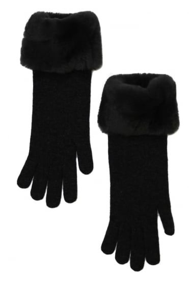 D'Exterior Women's 45988 Fur Grey or Dark Grey Gloves