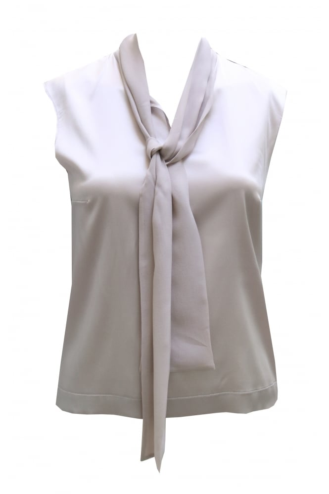 D Exterior Grey Sleeveless Silk Top 44678