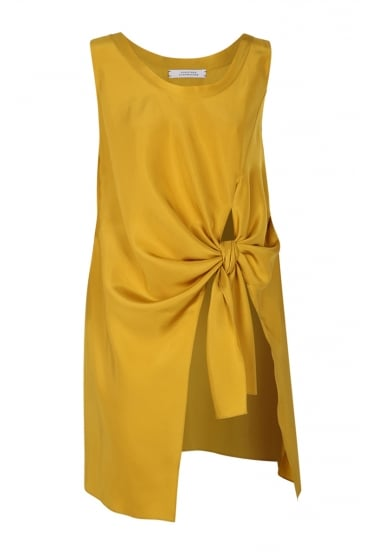 Knot it up Mustard Yellow Blouse 549303