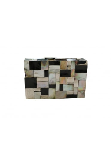 Emm Kuo Women's EK043-01A Pearlescent Black and White Clutch Bag