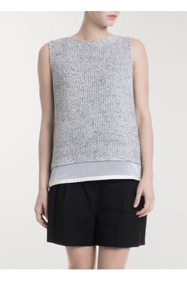 Knit Grey/White Sleeveless Top E85417