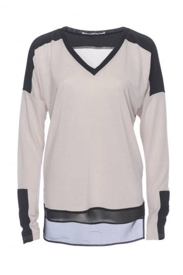 Falcon & Bloom Women's FB207 Colourblock Tee Beige Top