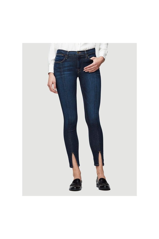 e58b379912fca FRAME Frame Women s LHSKFS184 Le High Skinny Front Split Blue Jeans ...