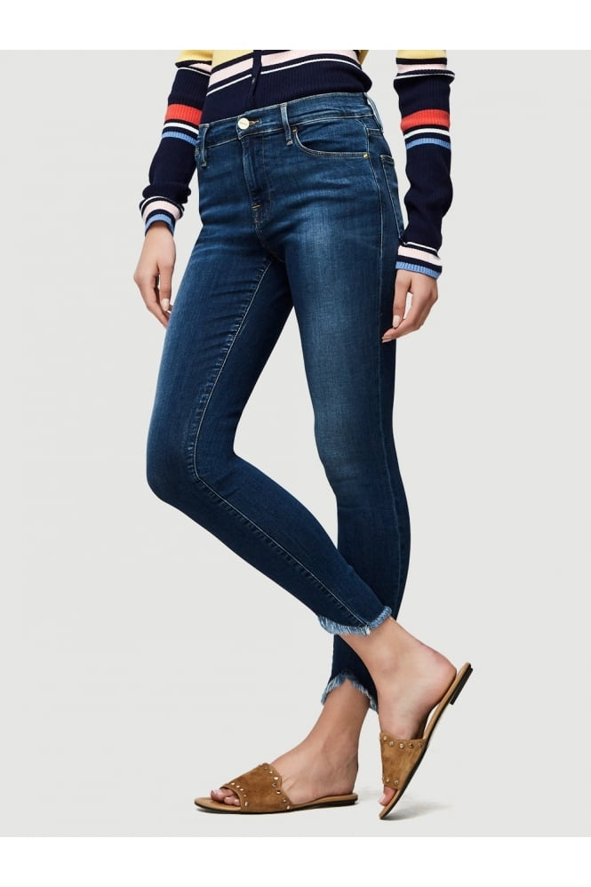 FRAME Women's LHSKTR184 Le High Skinny Triangle Hem Blue Jeans
