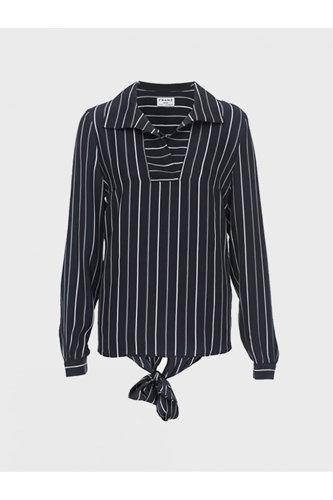 FRAME Women's LWSH0327 Tie Back Striped Navy Blouse